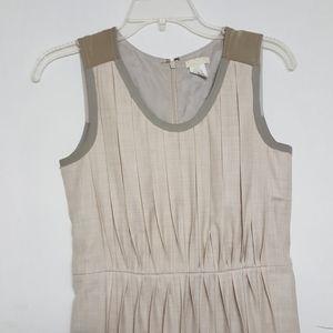 J. Crew Wool/Silk Khaki Pleated Sleeveless Dress